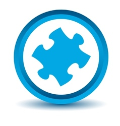Blue puzzle icon vector