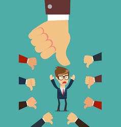 Businessman and many hands with thumbs down vector