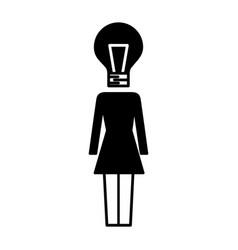 Businesswoman with bulb head idea creativity vector