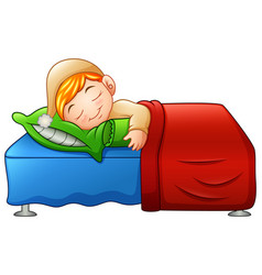 Cartoon cute little boy sleeping in bed vector