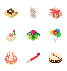Celebratory cake icons set isometric style vector
