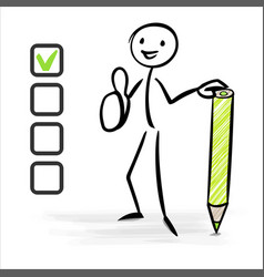 checklist and stickman with thumb up vector image