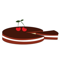 cherry biscuit on white background vector image