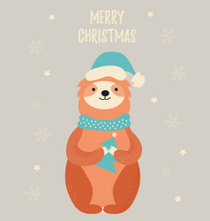 Christmas card with a cute sloth in winter hat vector