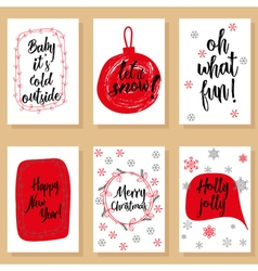 Christmas holidays modern calligraphy set Hand vector image
