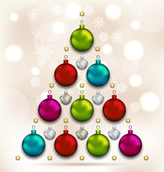Christmas tree made of baubles glowing background vector