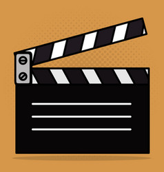 Cinema clapper board entertainment icon vector