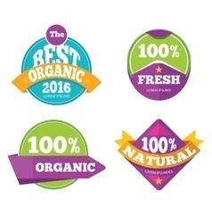 Colorful organic fresh natural labels set vector