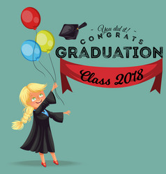 Congrats class of 2018 flat colorful poster happy vector