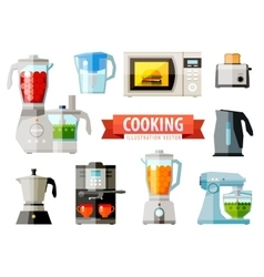 Cooking icons set of elements - food processor vector