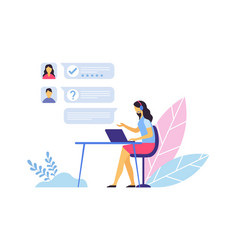 Customer support call center operator sitting vector