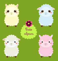 Cute lamas cartoon llama characters happy kawaii vector
