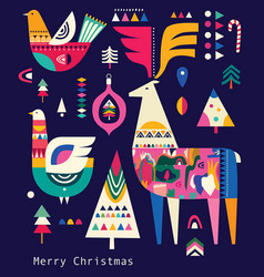 decorative christmas collection in scandinavian vector image