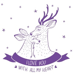 Deer couple silhouette vector image