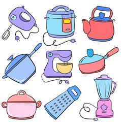 Doodle of kitchen set design art vector