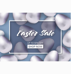 easter sale banner with silver eggs vector image