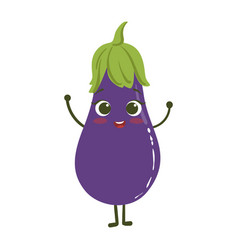 Eggplant cute anime humanized smiling cartoon vector