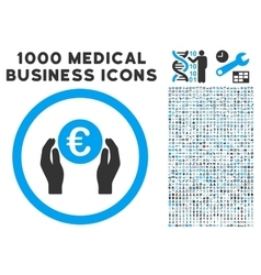Euro Insurance Hands Icon with 1000 Medical vector image