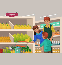 Family shopping fruits in a supermarket vector
