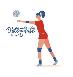 female volleyball player sportswoman playing vector image