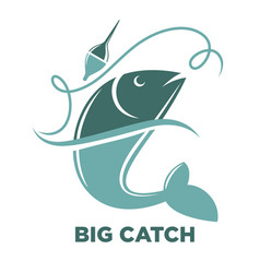 Fishing big fish catch isolated icon vector