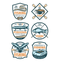 Fishing club and fisher shop retro badges vector