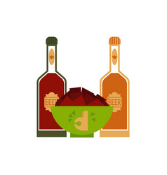 Flat beer glass bottles nachos snacks vector