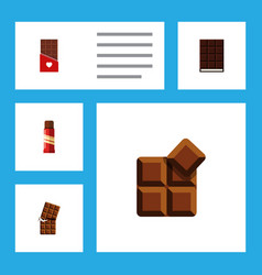 flat icon sweet set of chocolate cocoa dessert vector image