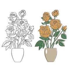 Flowers tea roses in vase vector