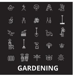 gardening editable line icons set on black vector image