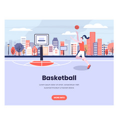 girl plays basketball with urban city background vector image