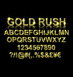 Gold rush gold alphabetic fonts vector