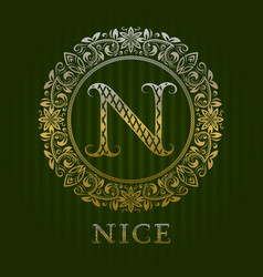golden logo template for nice boutique monogram vector image