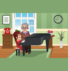grandmother playing piano with her granddaughter vector image