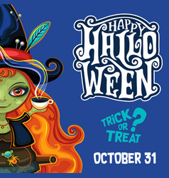 halloween witch poster with lettering vector image