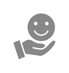 Hand holds happy emoji good mood gray icon share vector
