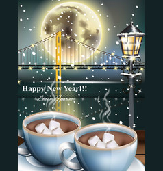 happy new year card with warm drinks over snowy vector image