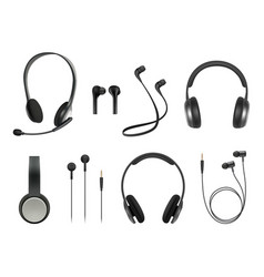 headset realistic earbuds music modern equipment vector image
