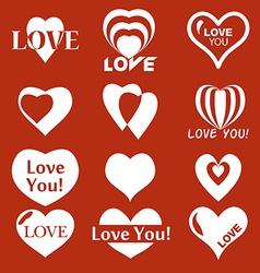 Heart icon Set of Valentines icon vector image