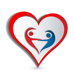 heart people shape dancing together icon vector image