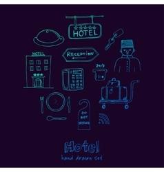 Hotel set doodle sketch vector
