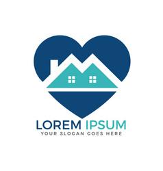 House and heart logo design vector