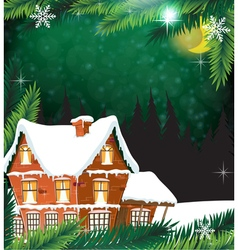 House with pine trees vector image