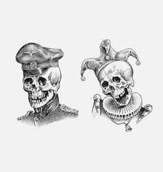 human skull sailor or seaman and jester vector image