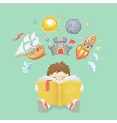Imagination concept boy reading a book rocket vector