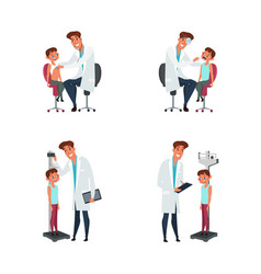 Kid and pediatrician flat set vector
