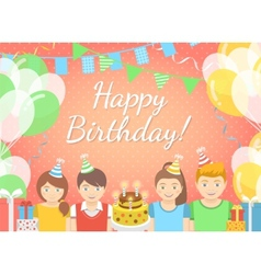 Kids Birthday Party Pink Background vector