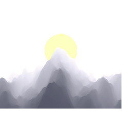 landscape with mountains sun sunset terrain vector image