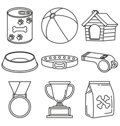 line art black and white 9 dog care elements vector image