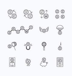 linear web icons set - business money currency vector image